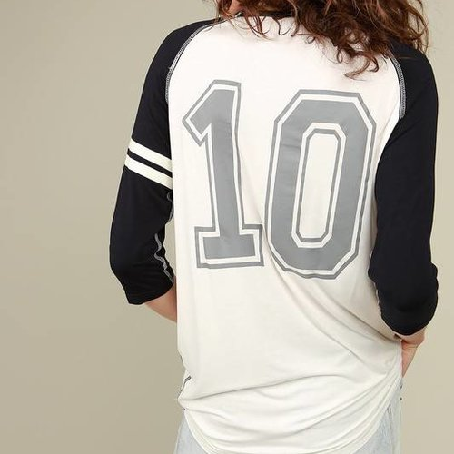 Black #10 Jersey Top White Contrast