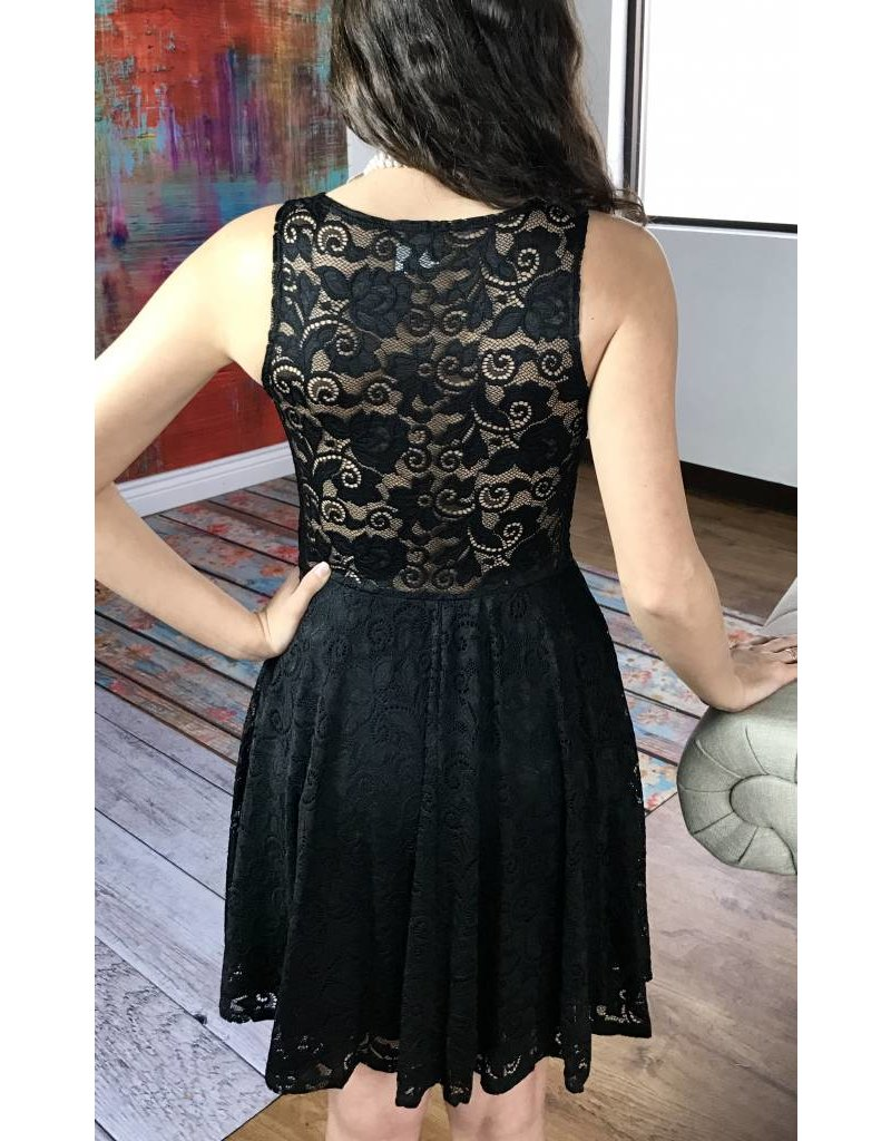Black Sleeveless Floral Lace Dress With See Through Back- SALE ITEM