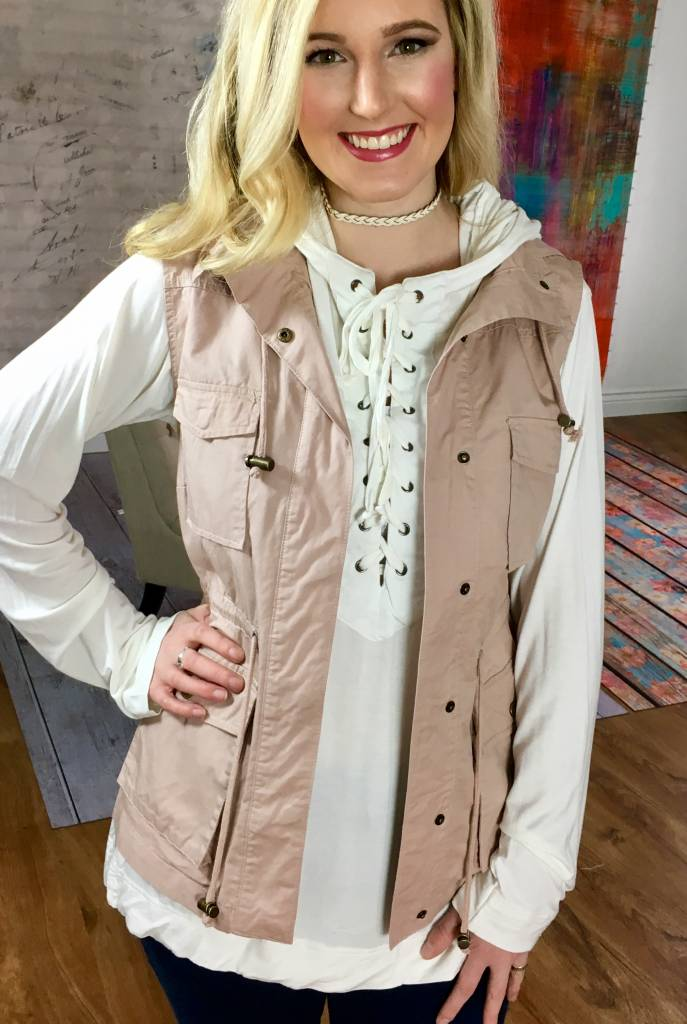 Faded Blush Utility Vest with Hood