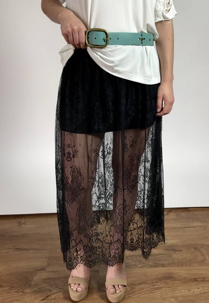 Black Transparent Eyelash Skirt w/ Lining Underneath
