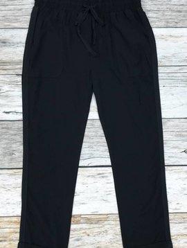 Black Waist Tie Pants with Pockets