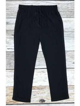 Black Waist Tie Pants with Pockets