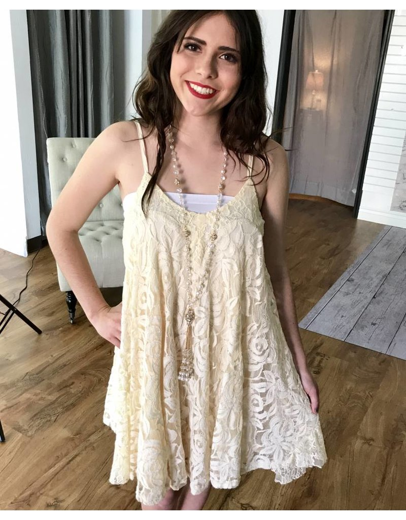 Natural Spaghetti Strap Floral Lace Dress- SALE ITEM