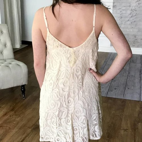 Natural Spaghetti Strap Floral Lace Dress
