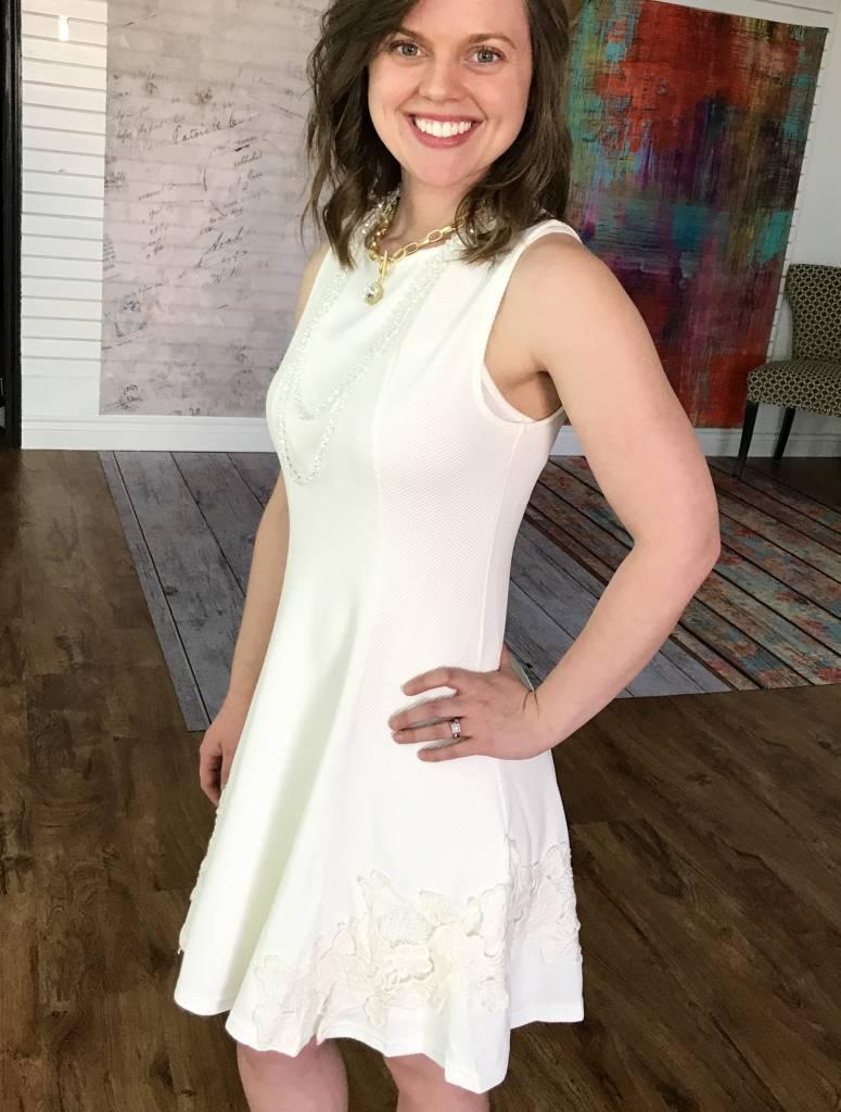 Cream Textured Flare Dress Crochet Detail