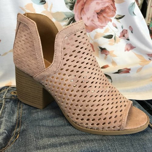 Blush Distressed Open Toe Bootie