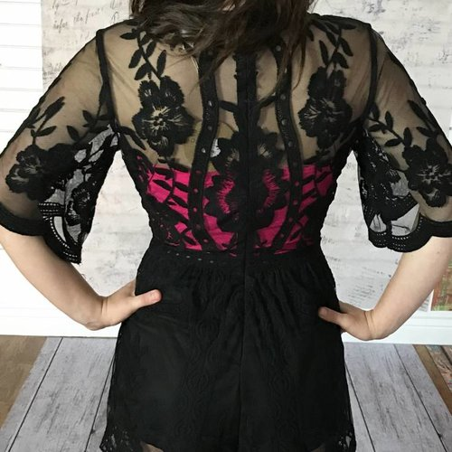 Black Deep V Lace Romper