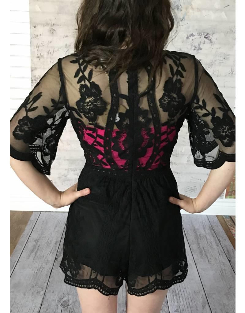 Black Deep V Lace Romper