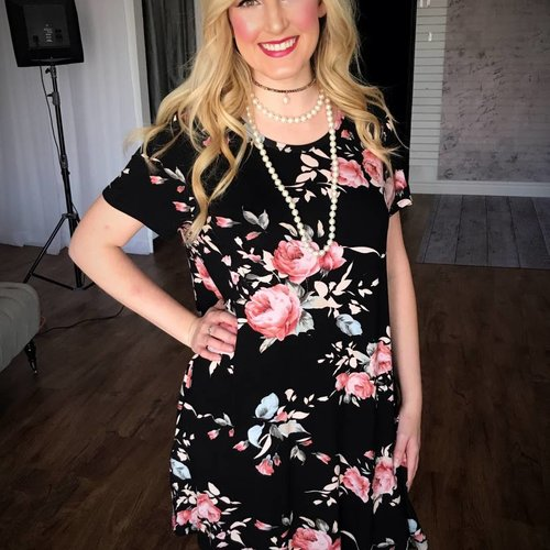 Black Pastel Floral Dress- SALE ITEM