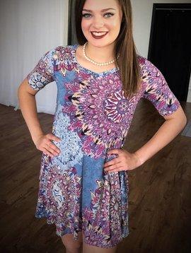 Blue / Purple Floral Short Sleeve Dress- SALE ITEM