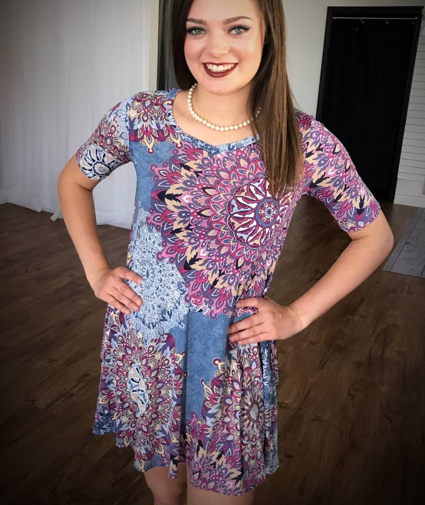 Blue / Purple Floral Short Sleeve Dress