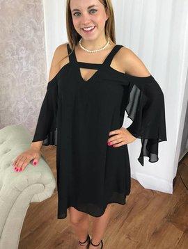 Black Cold Shoulder Dress with V Cut Out-Final Sale