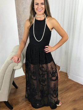 Black Fancy Lace Maxi Romper