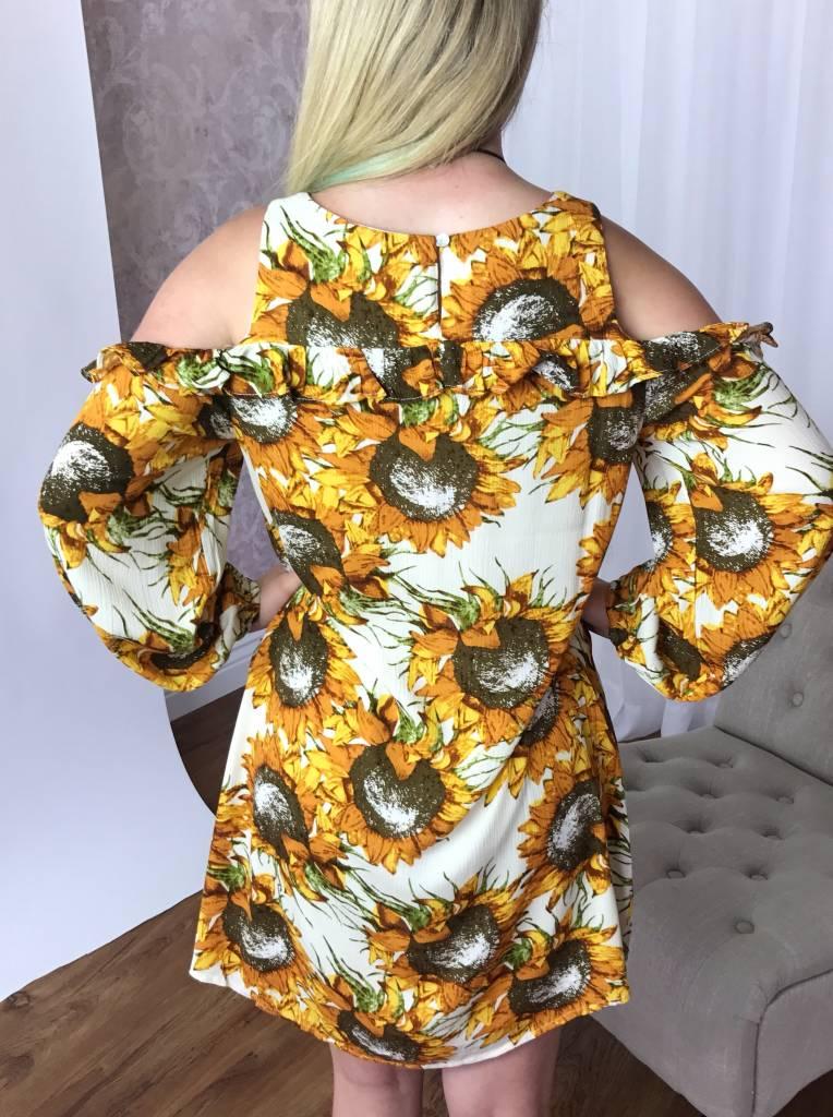 Cream Sunflower Cold Shoulder Dress-SALE ITEM