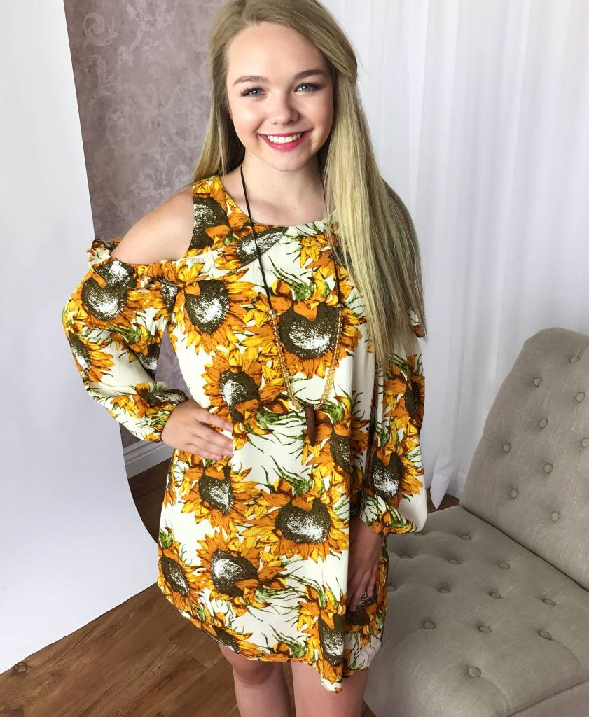 Cream Sunflower Cold Shoulder Dress