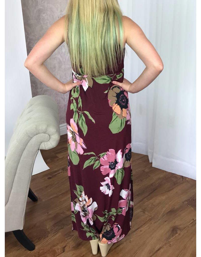 Burgundy Floral Maxi Dress