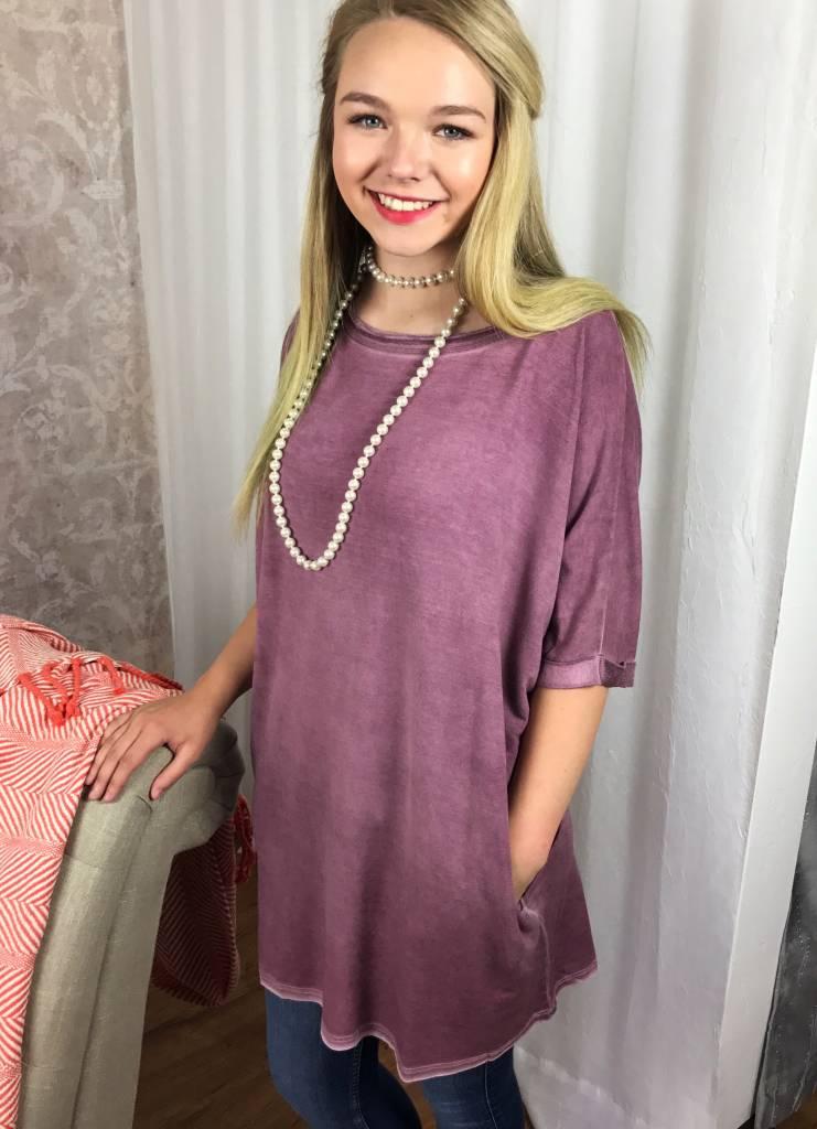 Faded Plum Dolman T-Shirt Dress