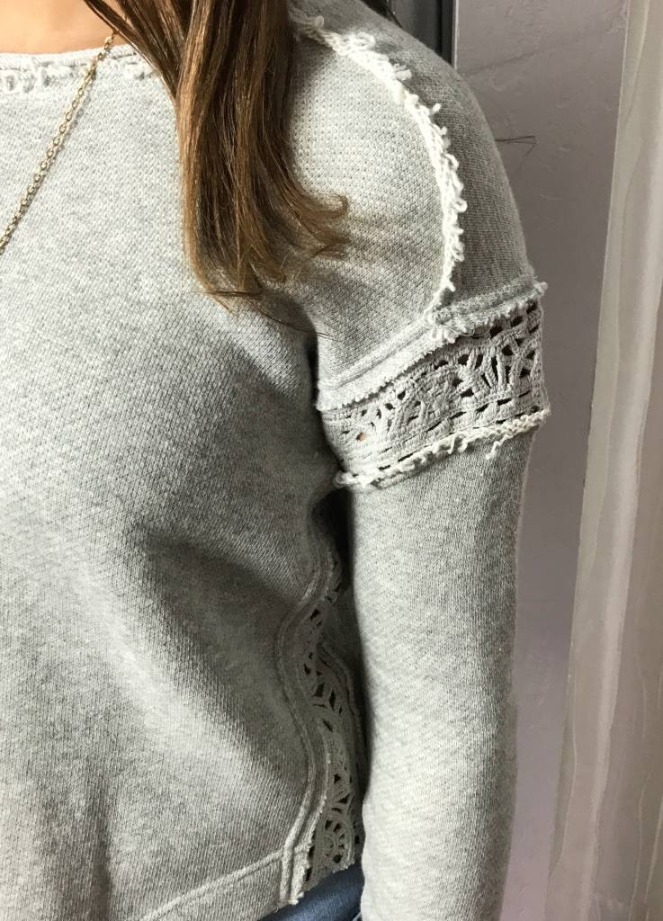 Grey See Through Lace Crochet Top