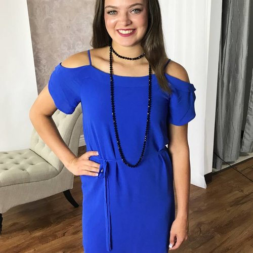 Blue Cold Shoulder Ruffle Dress w/ Tie Belt