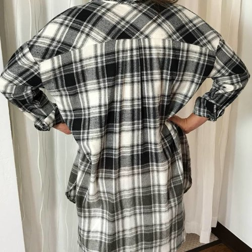 Flannel White / Black Plaid Button Up Top