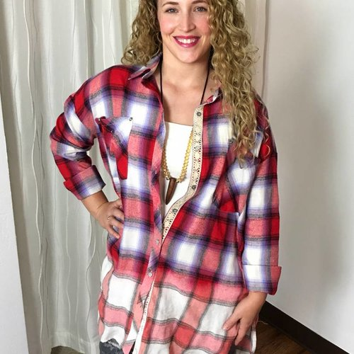Flannel Red / White / Blue Plaid Button Up Top