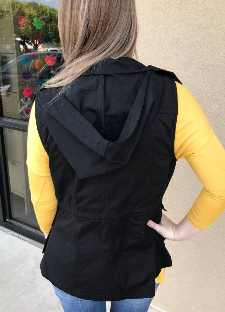 Black Utility Vest with Hood