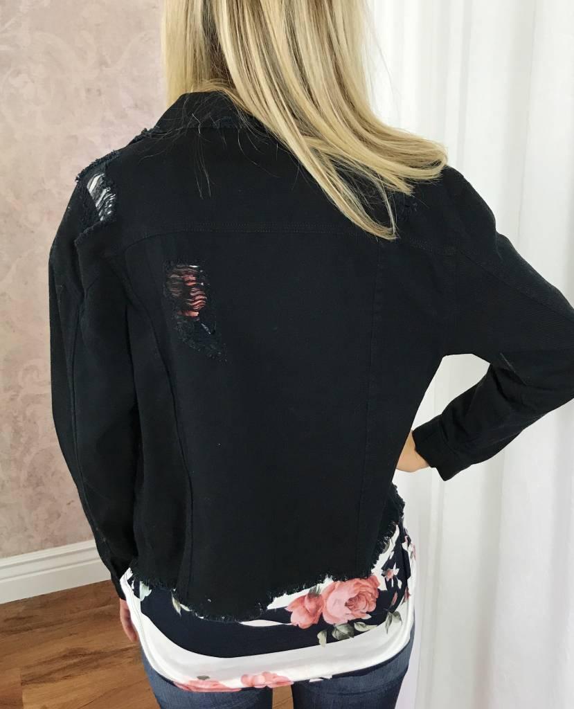 Black Distressed Collar Jacket
