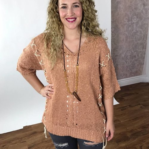 Faded Peach Knitted Top w/ Crossed Detail
