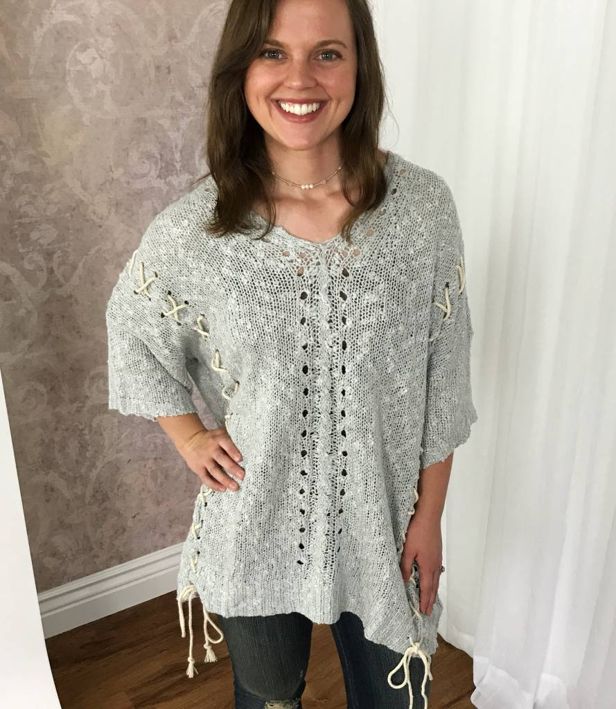 Heather Grey Cross Tie Knitted Top