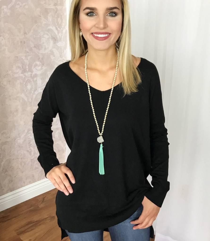 Black Hi Low Lounge Sweater Top