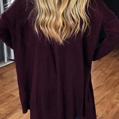 Deep Red Button Up Cardigan