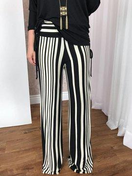 Black / Ivory Striped Knit Palazzo Pants