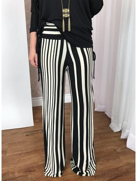 Black / Ivory Striped Knit Palazzo Pants