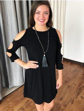 Black Cold Shoulder Cutout Sleeve Dress
