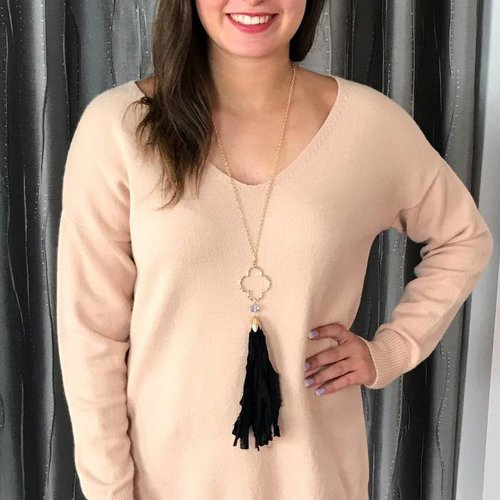 Peach V-Neck Side Slit Lounging Sweater