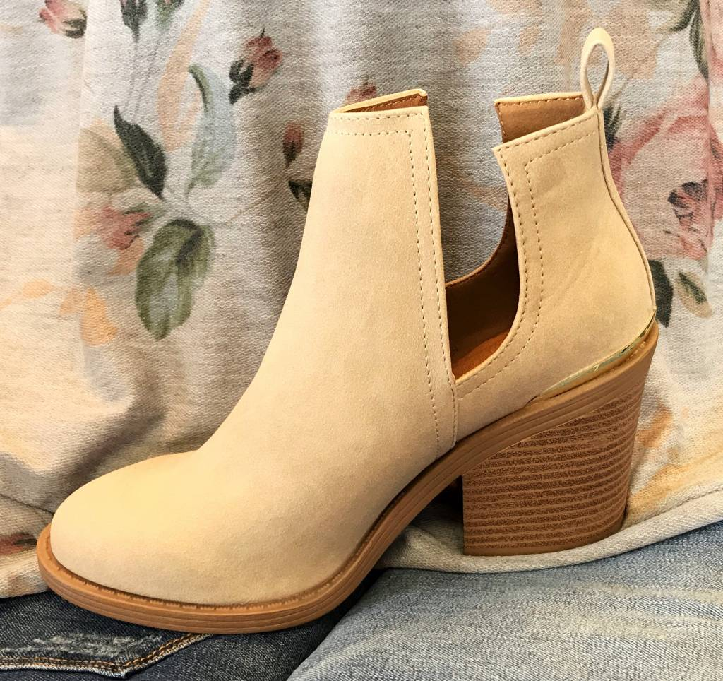 Stone Heel Bootie with Side Cutouts