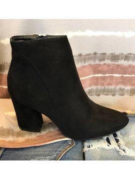 Black Suede Heel Bootie