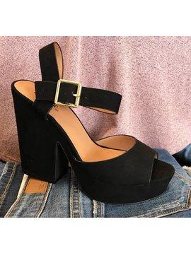 Black Suede Buckle Heel Sandal