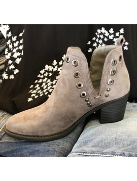 Grey Ankle Bootie with Stud Detail