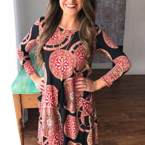 Black / Red Circle Print Dress with 3/4 Sleeves and Pockets