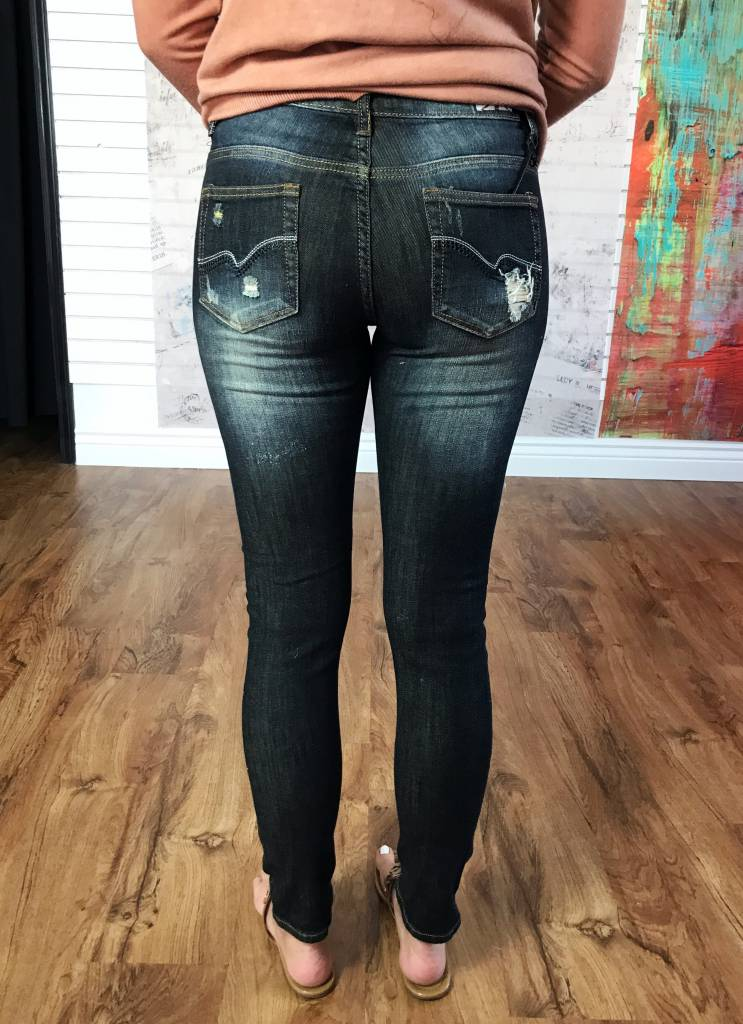 Black Bleached Distressed Skinny Jeans
