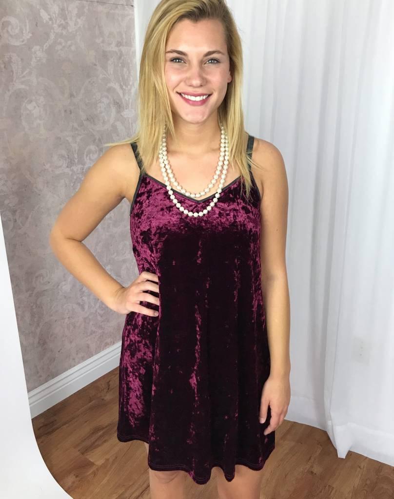 Deep Wine Velvet Spaghetti Strap Dress- SALE ITEM