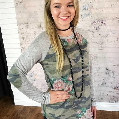 Camo Floral Top with Heather Grey Long Sleeves
