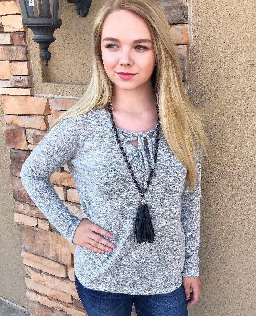 Grey Speckled Lace-up Sweater Top
