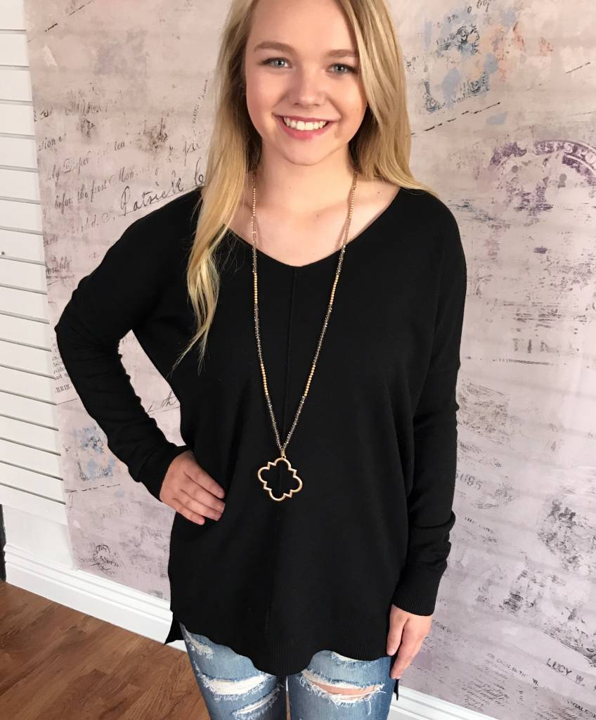 Black Soft High Low Sweater Top