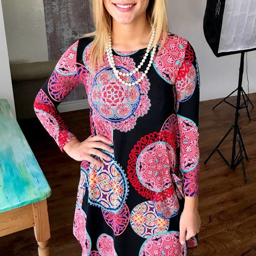 Black Floral Print Dress with 3/4 Sleeves and Pockets