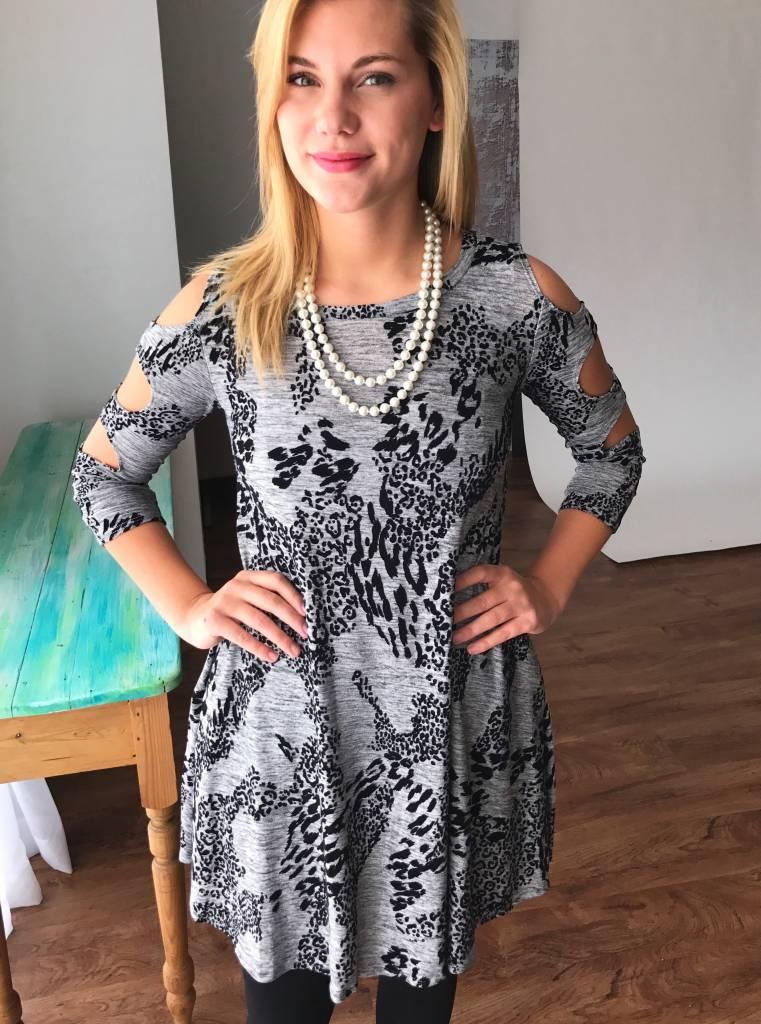 Grey Splattered Leopard Dress with Cutout Sleeve- SALE ITEM