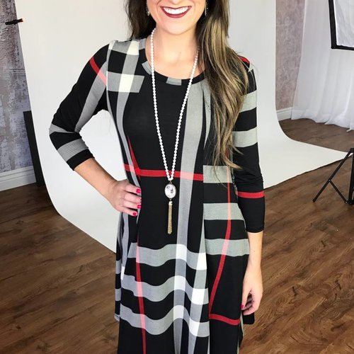 Black Plaid Swing Dress
