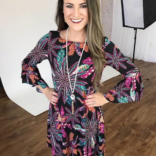 Black Ruffle Sleeve Feather Print Dress
