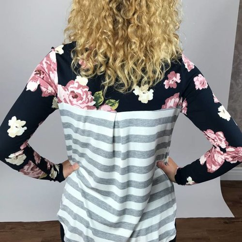 Black Floral Top with Striped Back